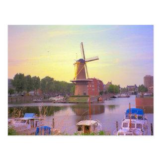 Rotterdam, historic ships, Schiedam windmill Postcard