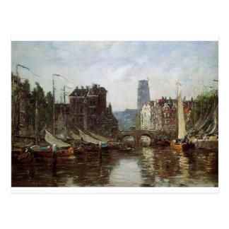 Rotterdam, Le Pont de Bourse by Eugene Boudin Postcard