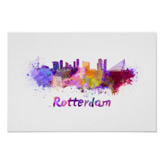 Rotterdam skyline in watercolor poster