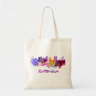 Rotterdam skyline in watercolor tote bag