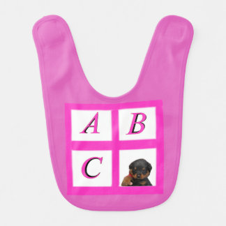 Rottie alphabet blocks bib