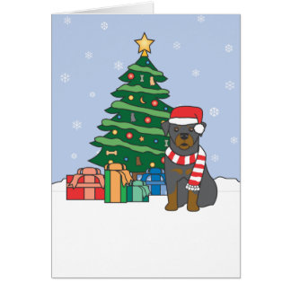 Rottweiler and Christmas Tree Card