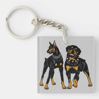 rottweiler and doberman key ring
