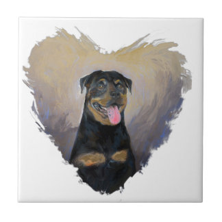 Rottweiler Art, I love Rotties Impressionist Tile