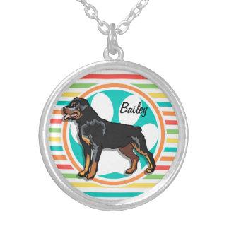 Rottweiler Bright Rainbow Stripes Custom Necklace