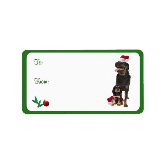 Rottweiler Christmas Gift Tag Stickers