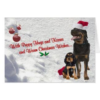 Rottweiler Christmas Snow Scene Greeting Card