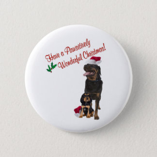 Rottweiler Christmas Wishes 6 Cm Round Badge
