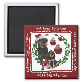 Rottweiler Christmas Wishes Square Magnet