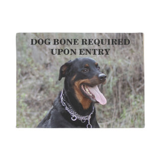 Rottweiler Dog Bone Required Doormat