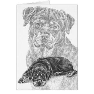 Rottweiler Dog Drawing by Kelli Swan Card