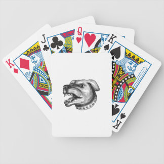 Rottweiler Dog Head Growling Tattoo Bicycle Playing Cards