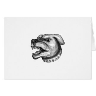 Rottweiler Dog Head Growling Tattoo Card