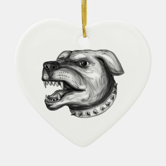 Rottweiler Dog Head Growling Tattoo Ceramic Ornament