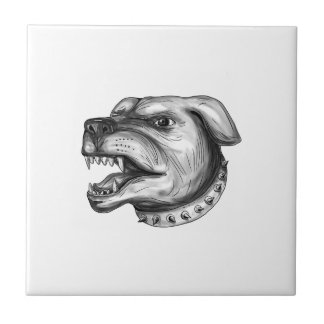 Rottweiler Dog Head Growling Tattoo Ceramic Tile