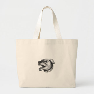 Rottweiler Dog Head Growling Tattoo Large Tote Bag
