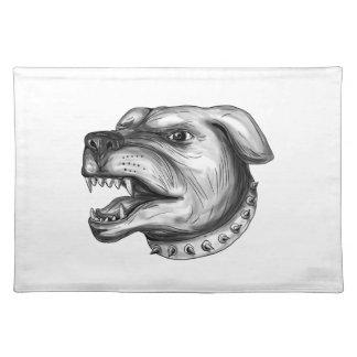 Rottweiler Dog Head Growling Tattoo Placemat