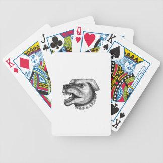 Rottweiler Dog Head Growling Tattoo Poker Deck