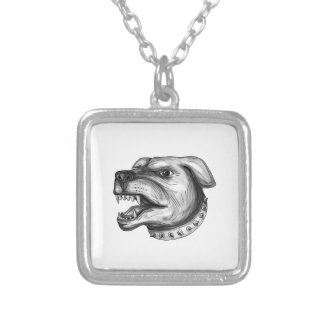 Rottweiler Dog Head Growling Tattoo Silver Plated Necklace