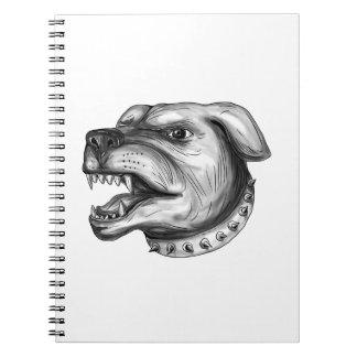 Rottweiler Dog Head Growling Tattoo Spiral Notebook