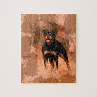 Rottweiler Dog Oil Painting Watercolor Art Barely Jigsaw Puzzle