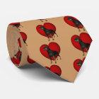 Rottweiler Dog Red Heart Tie