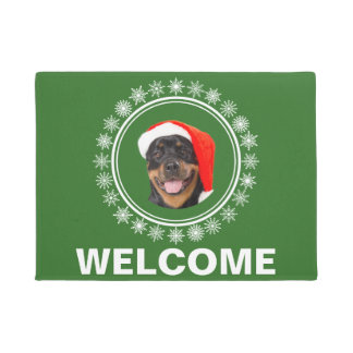 Rottweiler Dog Santa Snowflakes Christmas Welcome Doormat
