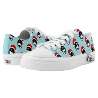 Rottweiler Dog W Red Christmas Santa Hat Pattern Low Tops