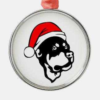 Rottweiler Dog wearing Red Christmas Santa Hat Metal Ornament