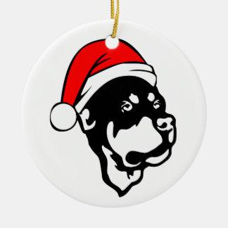 Rottweiler Dog wearing Red Christmas Santa Hat Round Ceramic Decoration