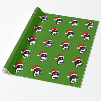 Rottweiler Dog wearing Red Christmas Santa Hat Wrapping Paper