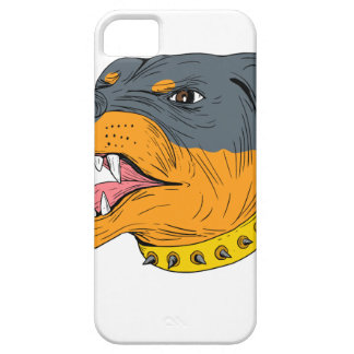 Rottweiler Guard Dog Head Aggressive Drawing Case For The iPhone 5