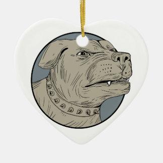 Rottweiler Guard Dog Head Aggressive Drawing Ceramic Ornament