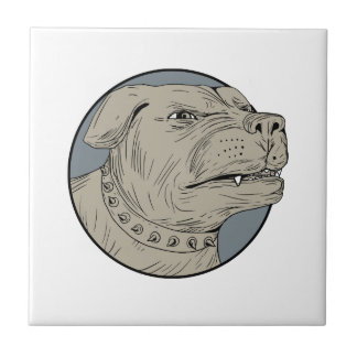 Rottweiler Guard Dog Head Aggressive Drawing Ceramic Tile