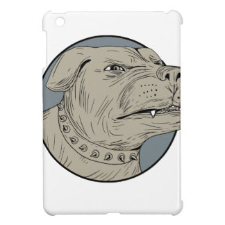 Rottweiler Guard Dog Head Aggressive Drawing iPad Mini Cover