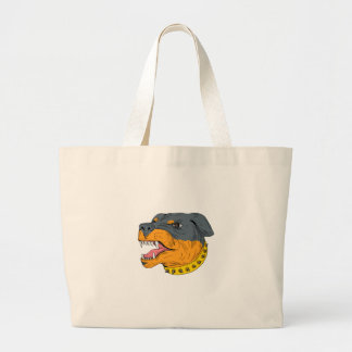 Rottweiler Guard Dog Head Aggressive Drawing Large Tote Bag