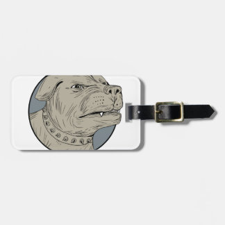 Rottweiler Guard Dog Head Aggressive Drawing Luggage Tag