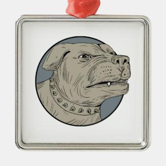 Rottweiler Guard Dog Head Aggressive Drawing Metal Ornament