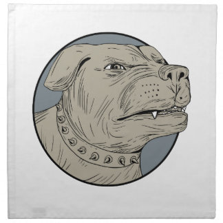 Rottweiler Guard Dog Head Aggressive Drawing Napkin