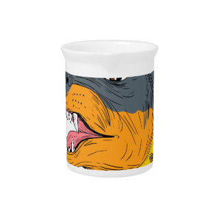 Rottweiler Guard Dog Head Aggressive Drawing Pitcher