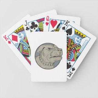 Rottweiler Guard Dog Head Aggressive Drawing Poker Deck