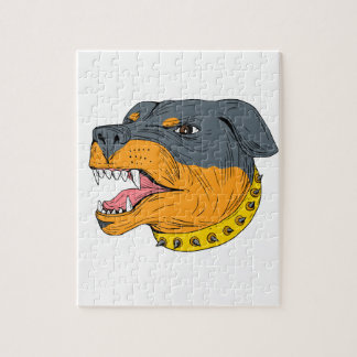Rottweiler Guard Dog Head Aggressive Drawing Puzzles