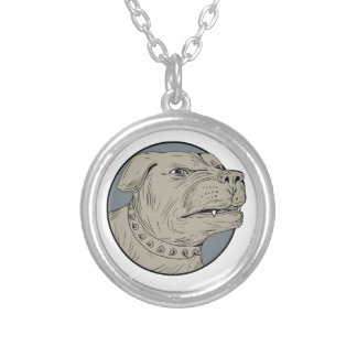 Rottweiler Guard Dog Head Aggressive Drawing Silver Plated Necklace