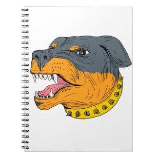 Rottweiler Guard Dog Head Aggressive Drawing Spiral Notebook