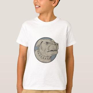 Rottweiler Guard Dog Head Aggressive Drawing T-Shirt