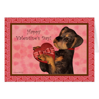Rottweiler Heart Candy Valentine's Day Card
