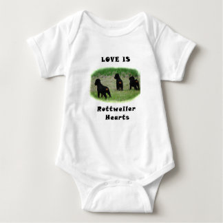 Rottweiler hearts baby bodysuit