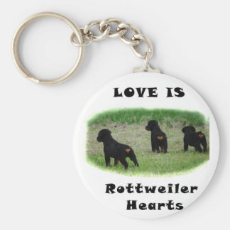 Rottweiler hearts key ring