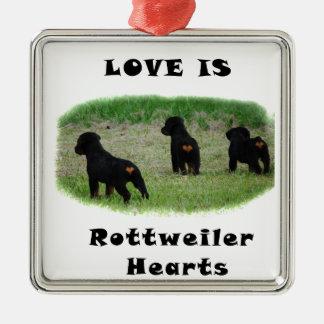 Rottweiler hearts metal ornament