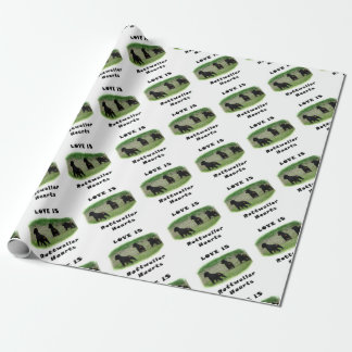Rottweiler hearts wrapping paper